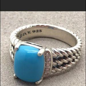 David Y 10x8mm Turquoise Diamond Ring Sz 6